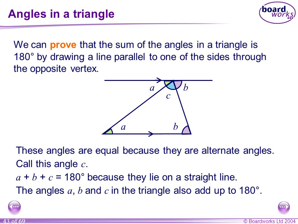 Angles in a triangle