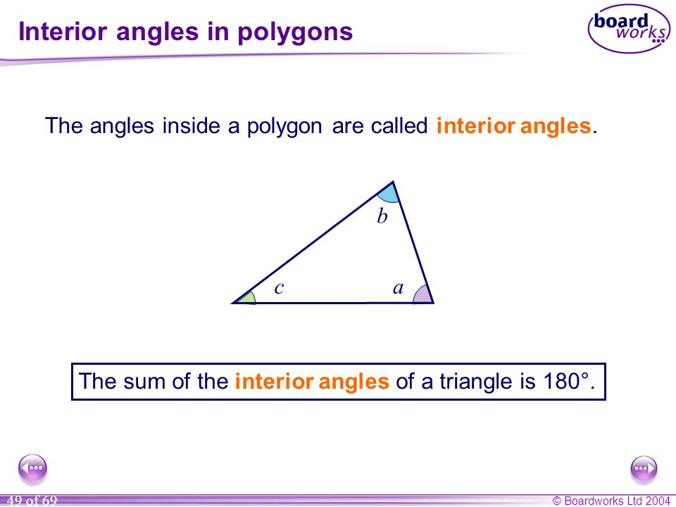 Interior angles in polygons