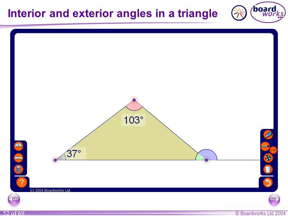 Interior and exterior angles in a triangle