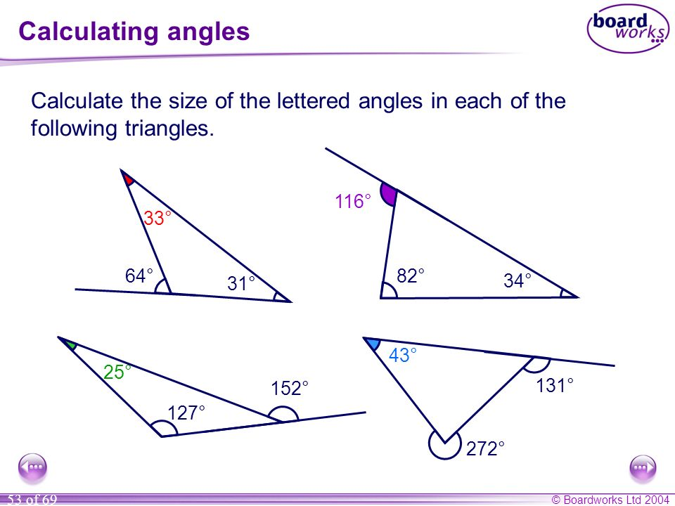 Calculating angles Calculate the size of the lettered angles in each of the following triangles. 116°