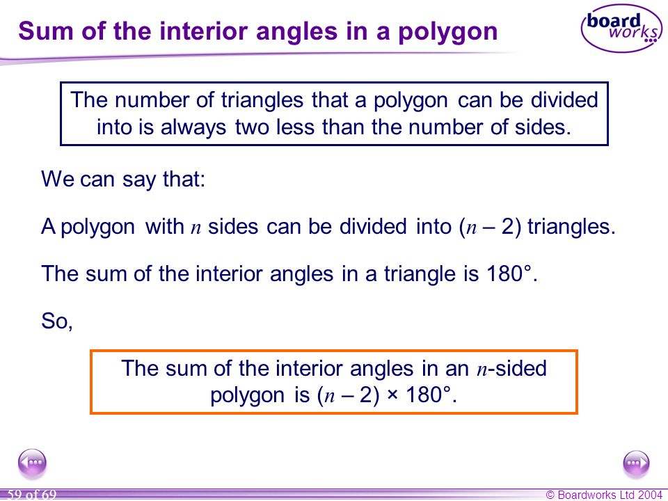 Sum of the interior angles in a polygon