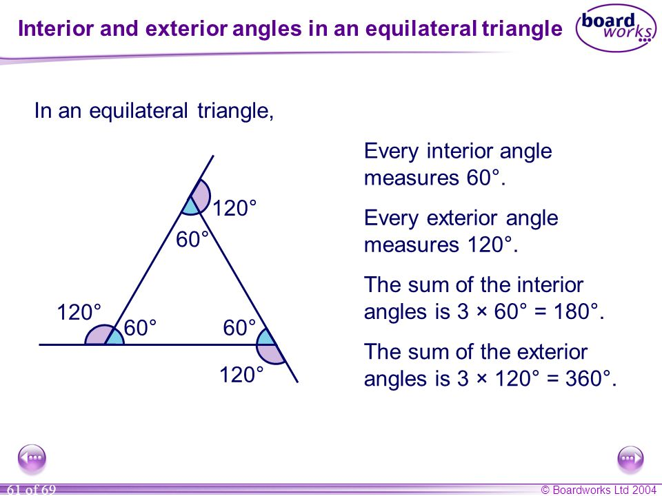 Interior and exterior angles in an equilateral triangle