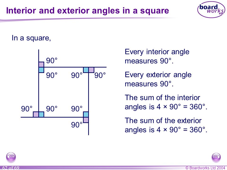 Interior and exterior angles in a square