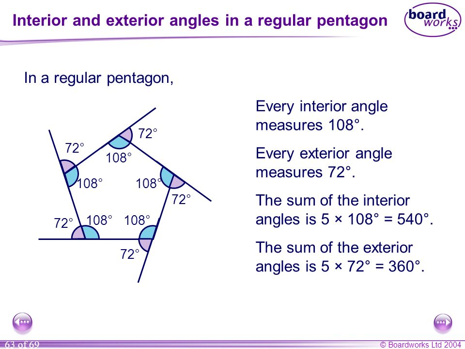 Interior and exterior angles in a regular pentagon