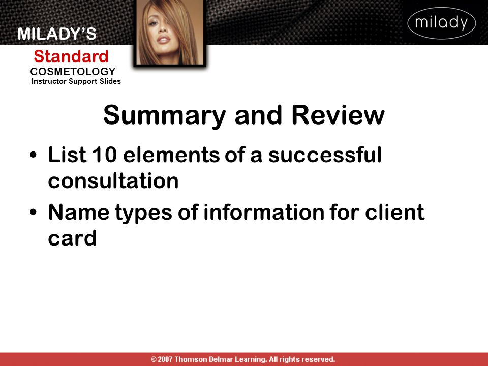 Summary and Review List 10 elements of a successful consultation