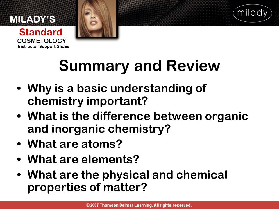 Summary and Review Why is a basic understanding of chemistry important What is the difference between organic and inorganic chemistry