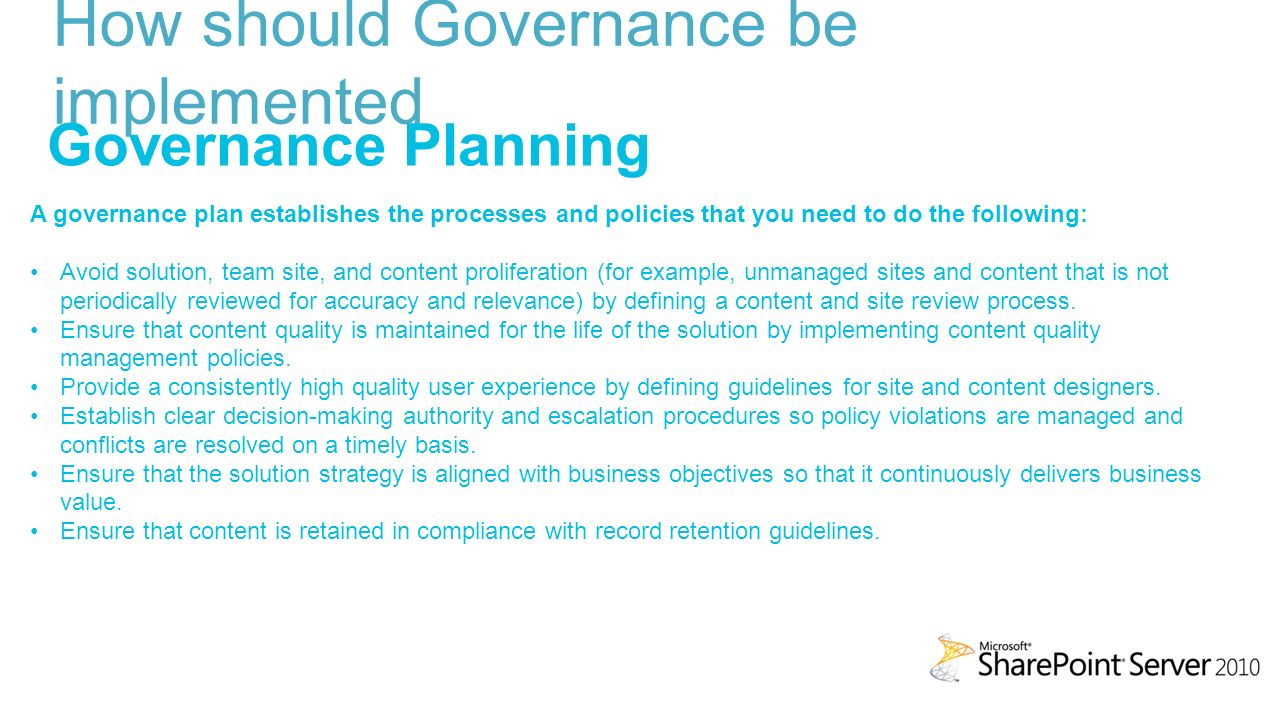 How Should Governance Be Implemented