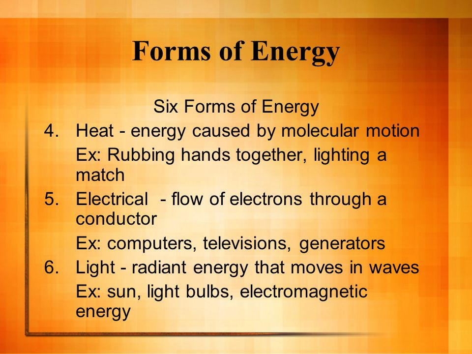 the six forms of energy