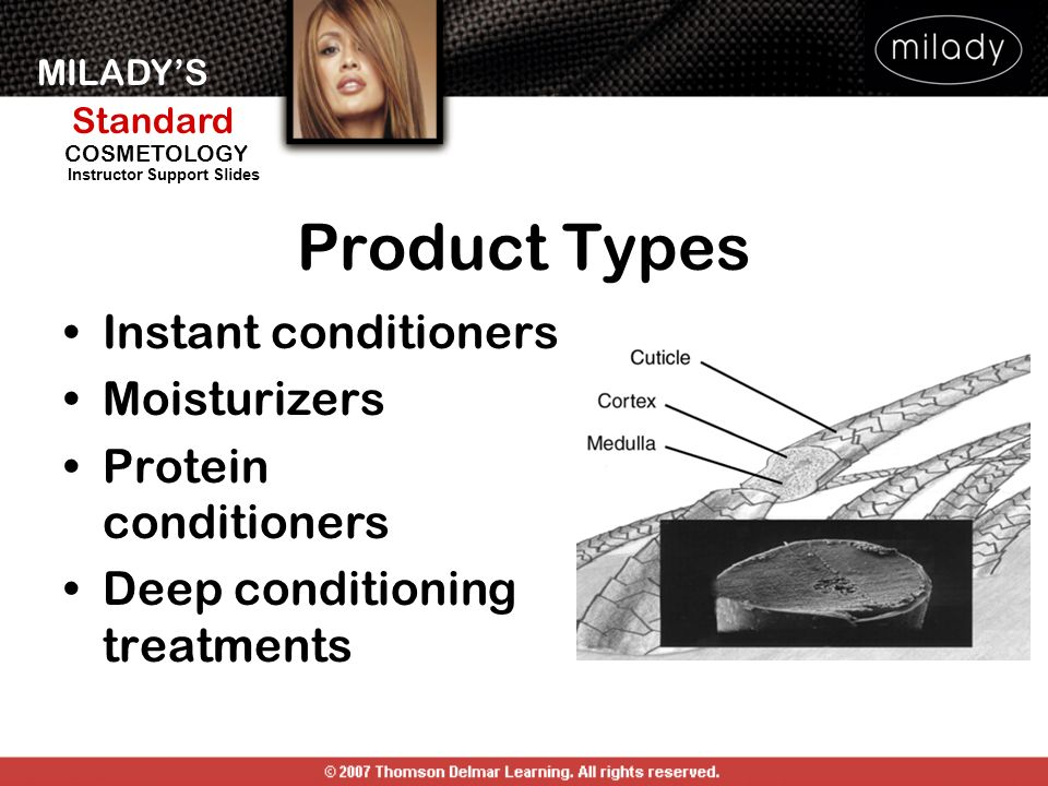 Product Types Instant conditioners Moisturizers Protein conditioners