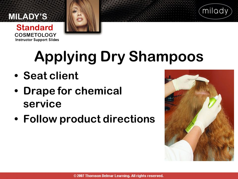Applying Dry Shampoos Seat client Drape for chemical service