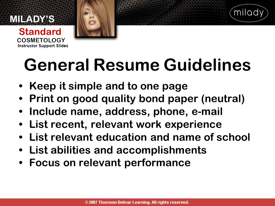 General Resume Guidelines