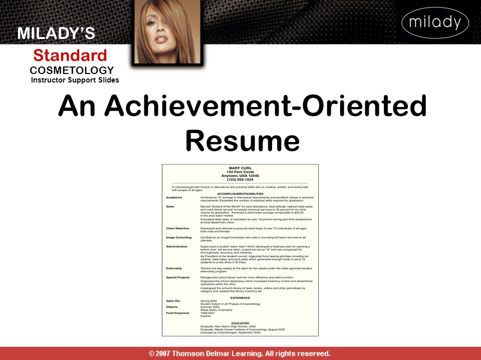 An Achievement-Oriented Resume