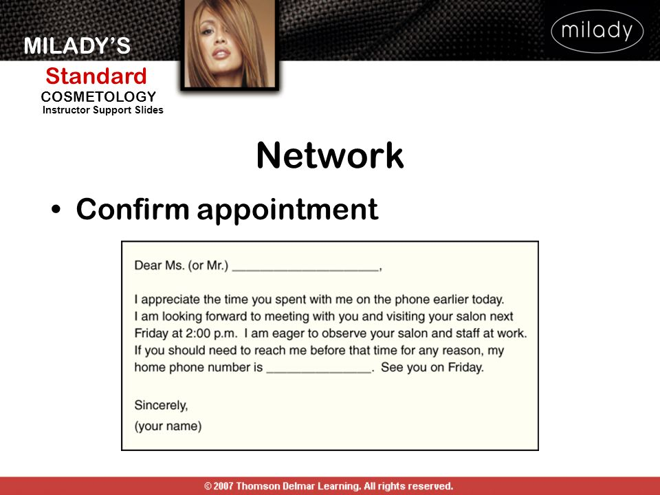 Network Confirm appointment