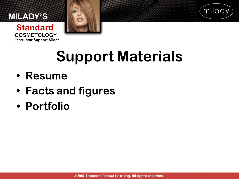 Support Materials Resume Facts and figures Portfolio