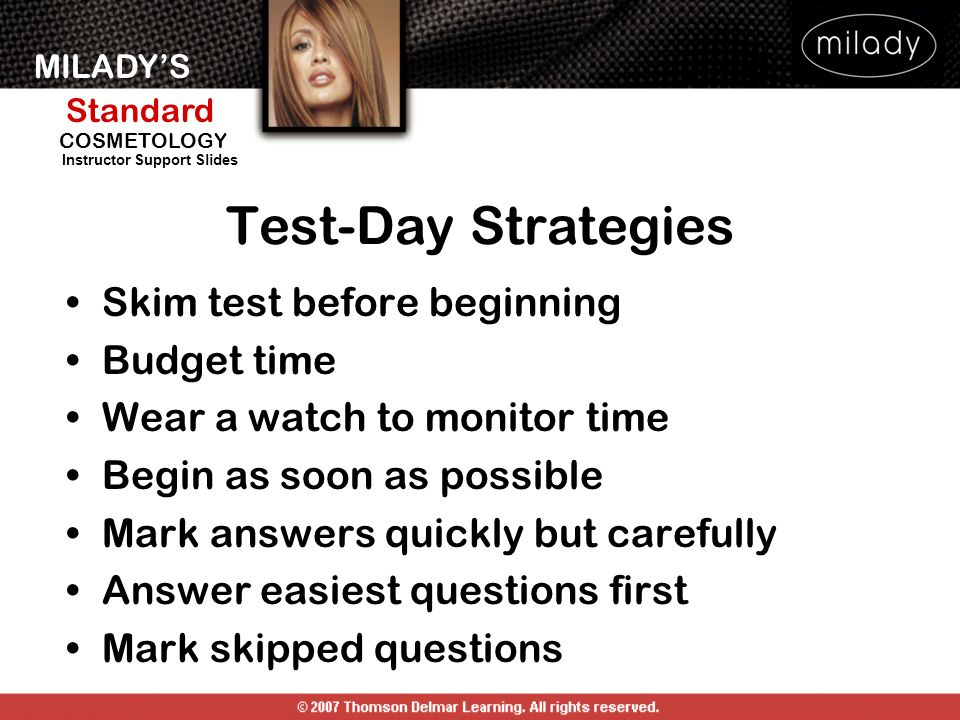 Test-Day Strategies Skim test before beginning Budget time