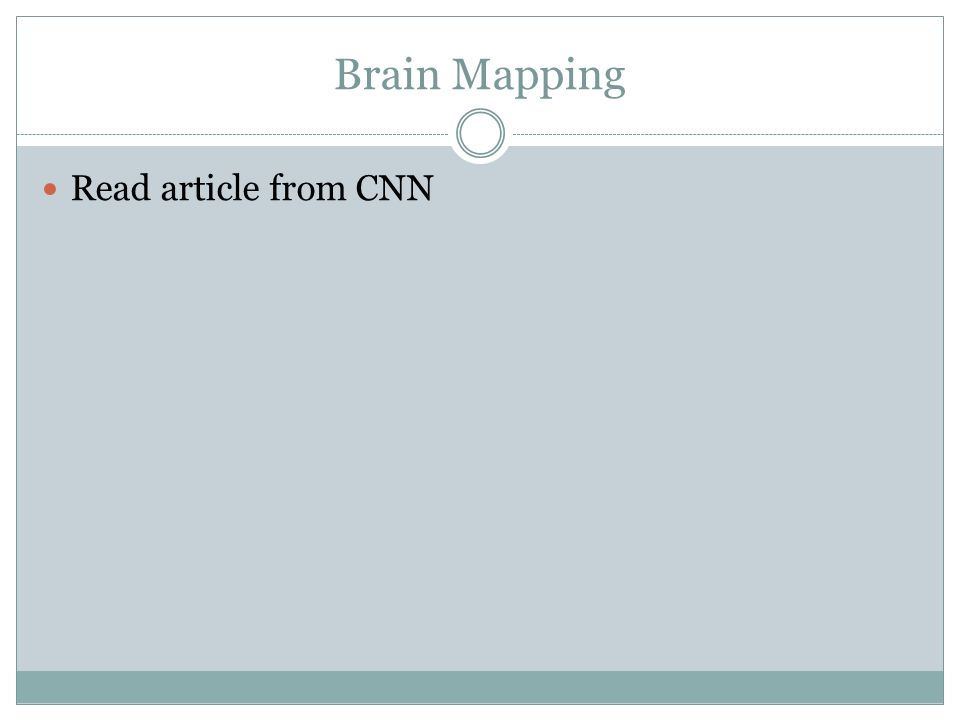 Brain Mapping Read article from CNN