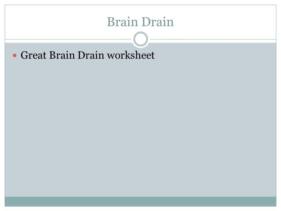 Brain Drain Great Brain Drain worksheet