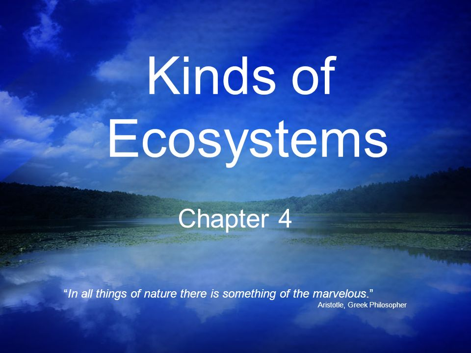 Kinds of Ecosystems Chapter 4