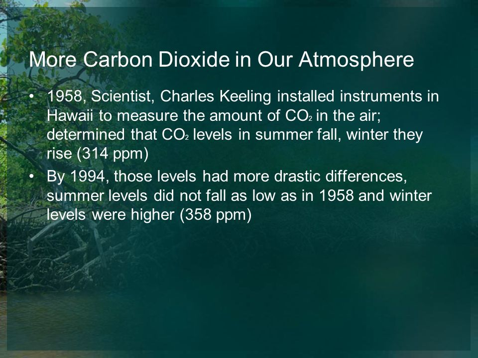 More Carbon Dioxide in Our Atmosphere