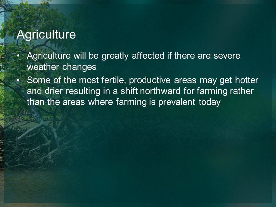 Agriculture Agriculture will be greatly affected if there are severe weather changes.
