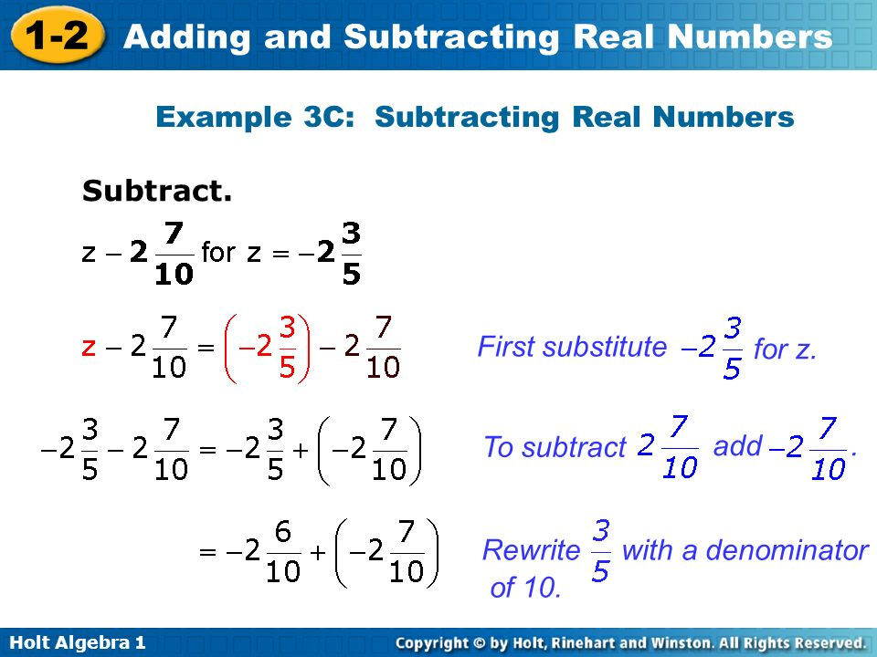 Example 3C: Subtracting Real Numbers