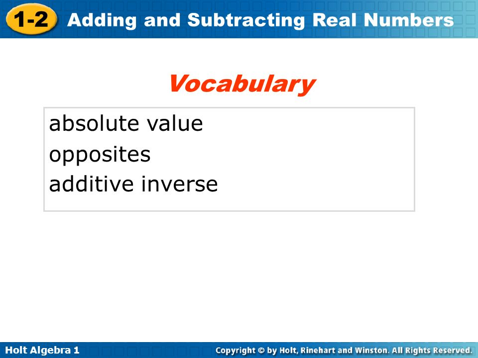 Vocabulary absolute value opposites additive inverse