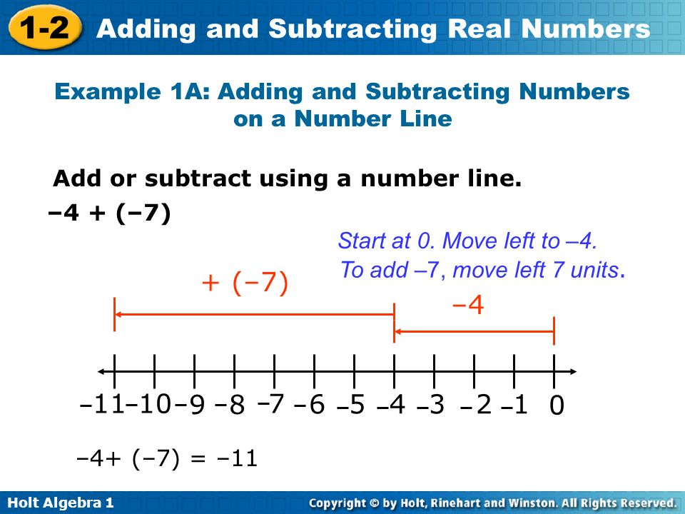 Example 1A: Adding and Subtracting Numbers on a Number Line