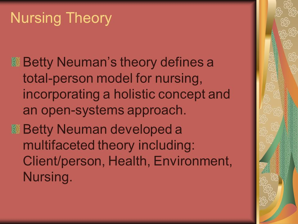 critique of betty neuman s systems Health is a condition in which all parts and subparts are in harmony with the whole of the client biography 1924 - born in lowell, a village in washington county, ohio, united states, along the muskingum river.
