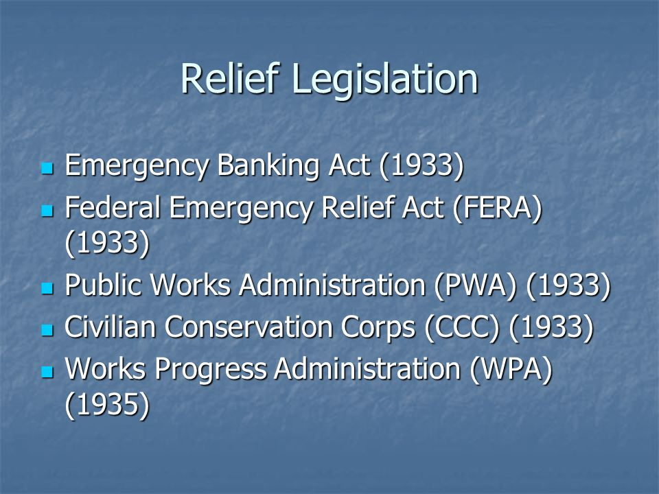 Relief Legislation Emergency Banking Act (1933)