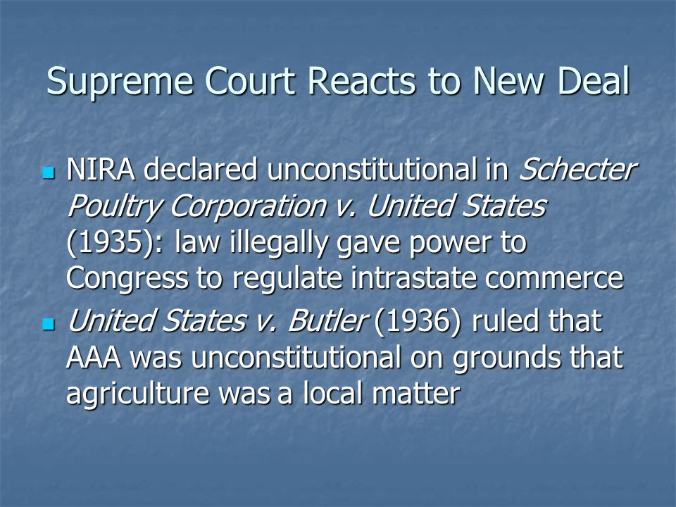 Supreme Court Reacts to New Deal