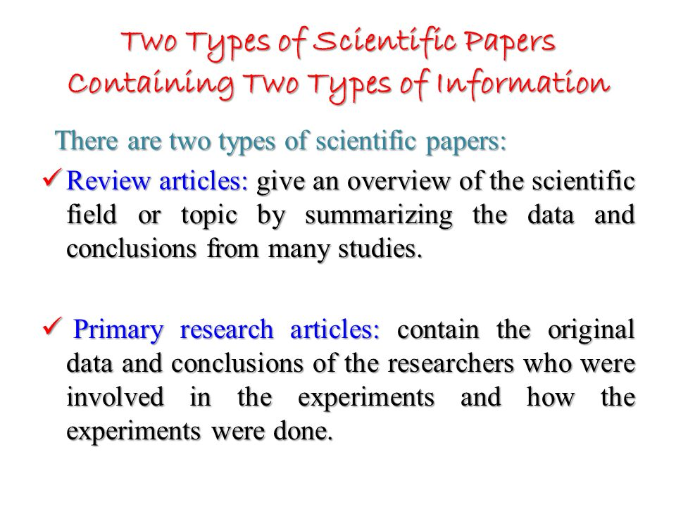 types of scientific papers