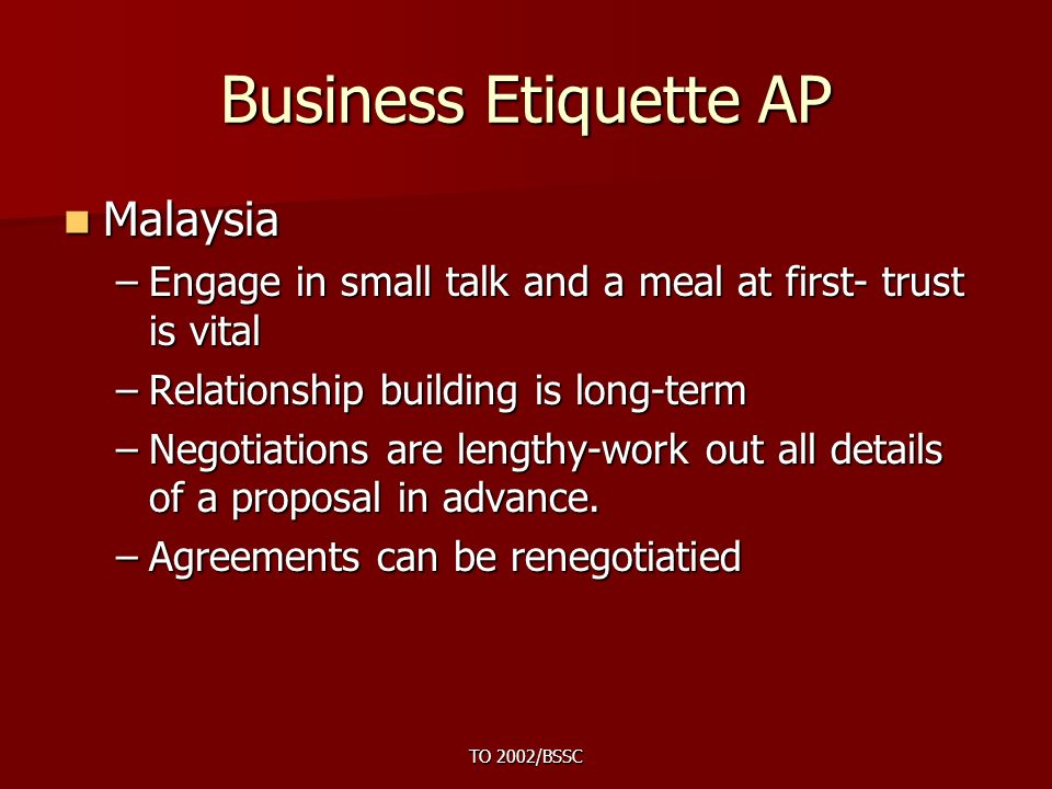 Introduction to business etiquette ppt video online download 47 business etiquette ap malaysia reheart Choice Image