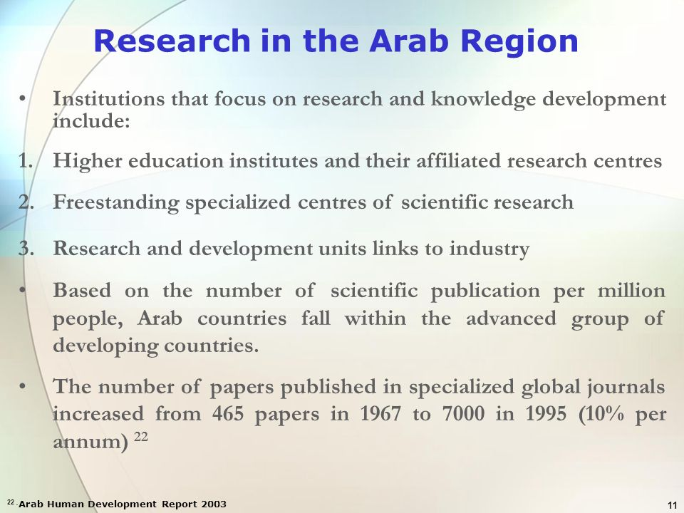 Research in the Arab Region