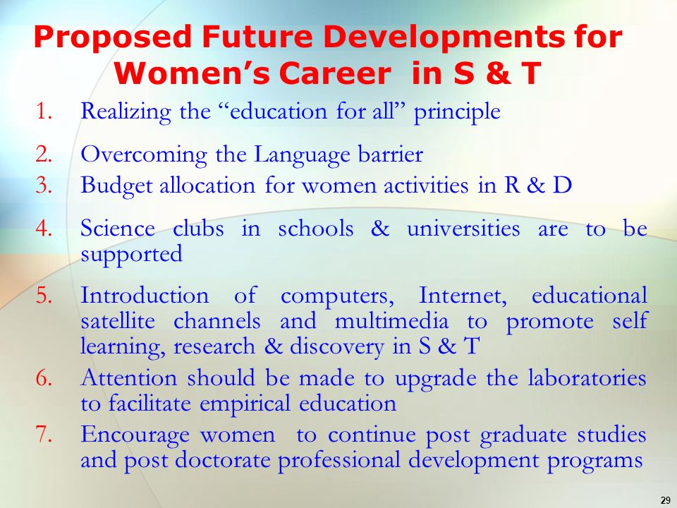 Proposed Future Developments for Women's Career in S & T
