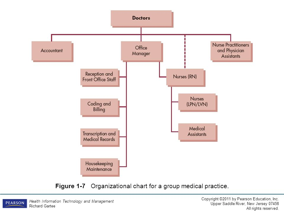 Figure 1-7 Organizational chart for a group medical practice.