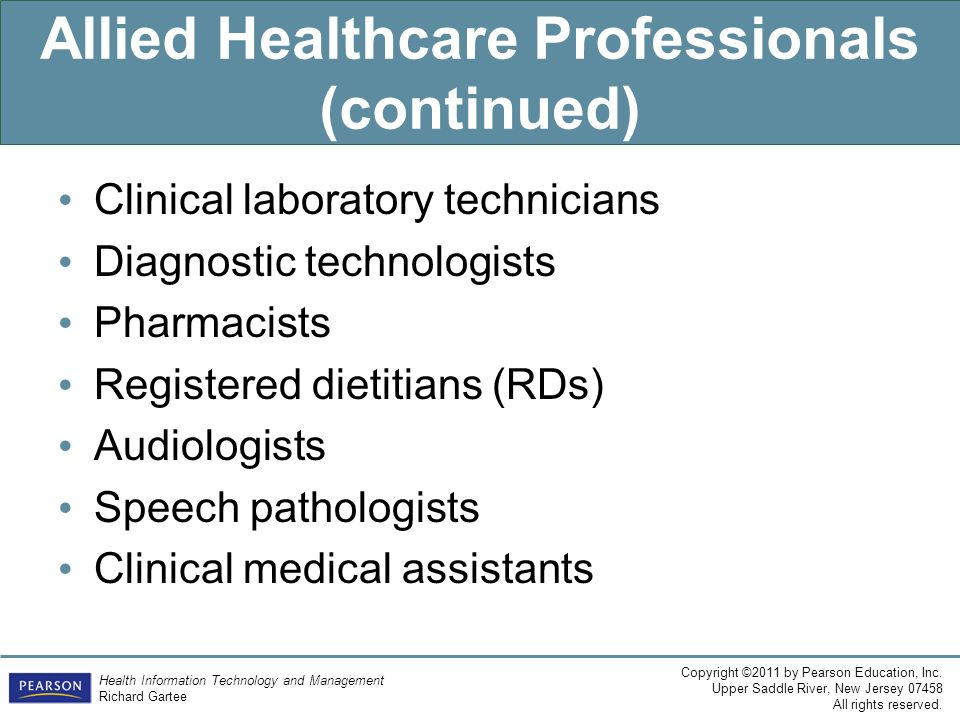 Allied Healthcare Professionals (continued)