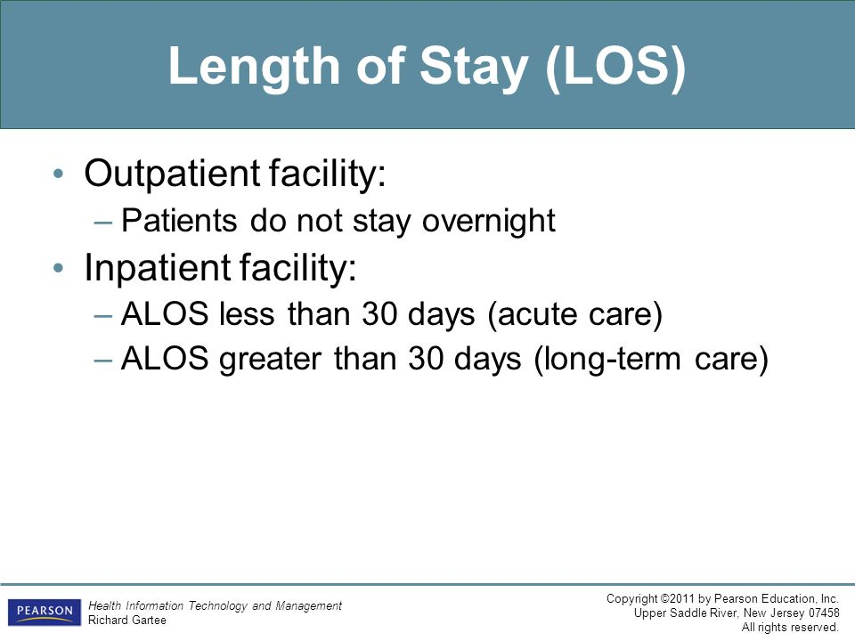 Length of Stay (LOS) Outpatient facility: Inpatient facility: