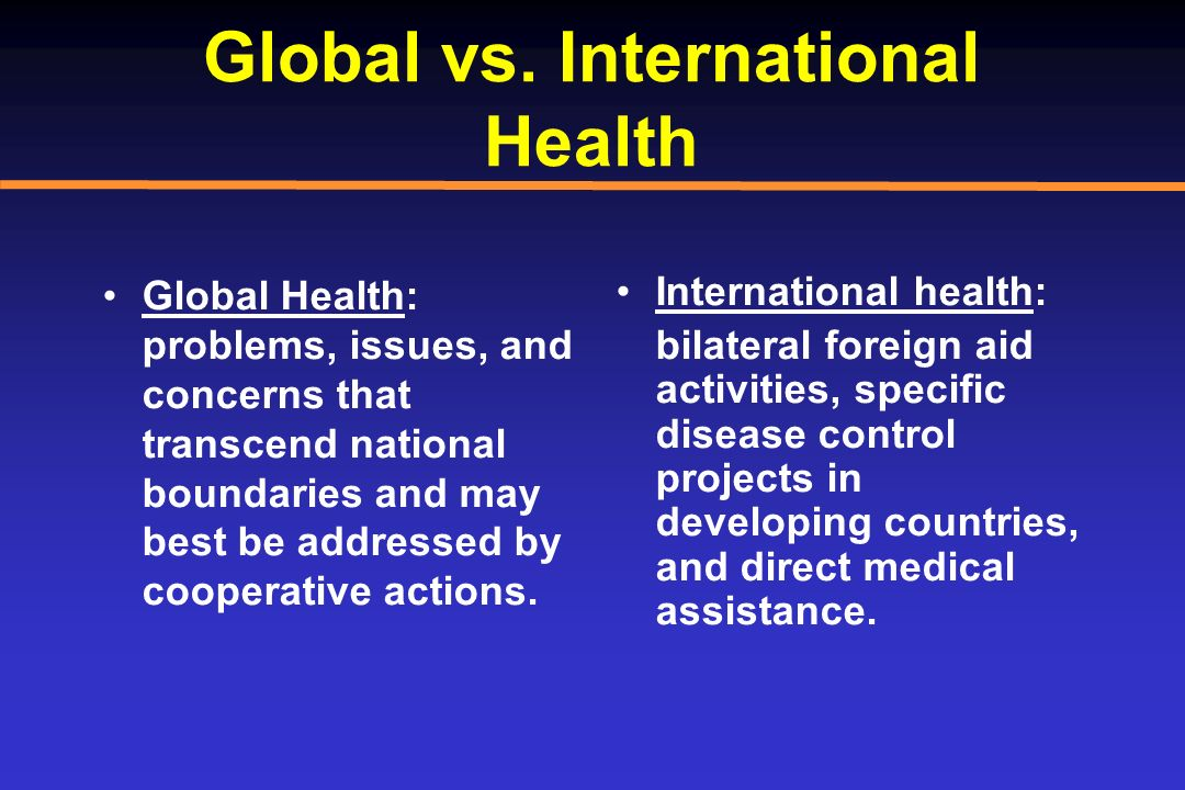 Global vs. International Health