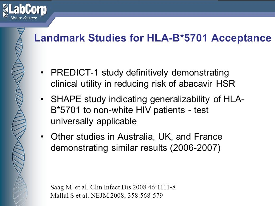 Landmark Studies for HLA-B*5701 Acceptance