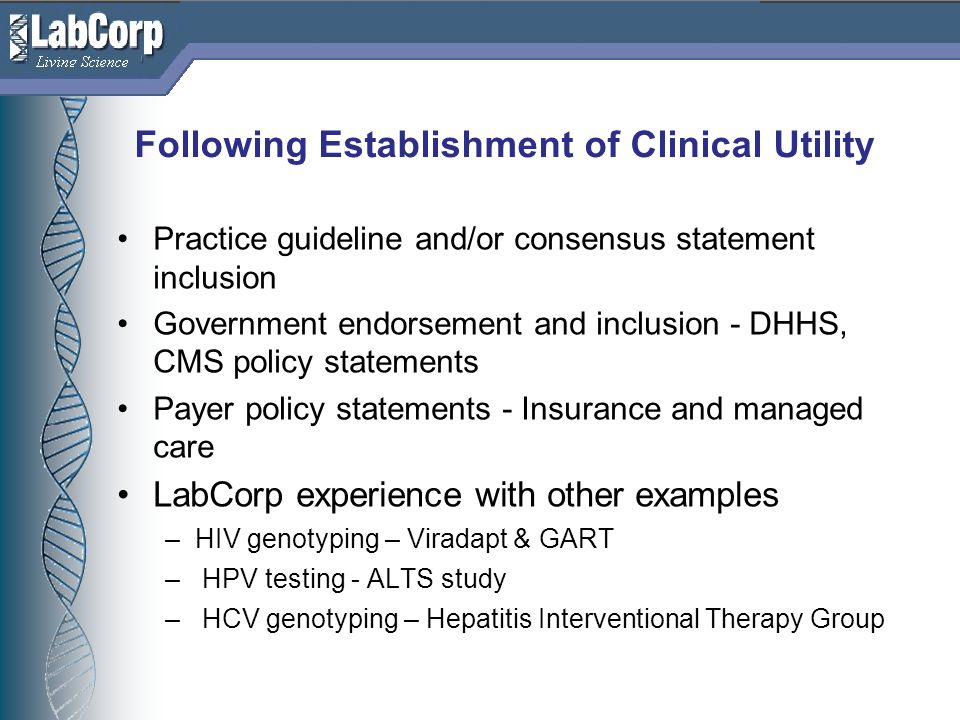 Following Establishment of Clinical Utility