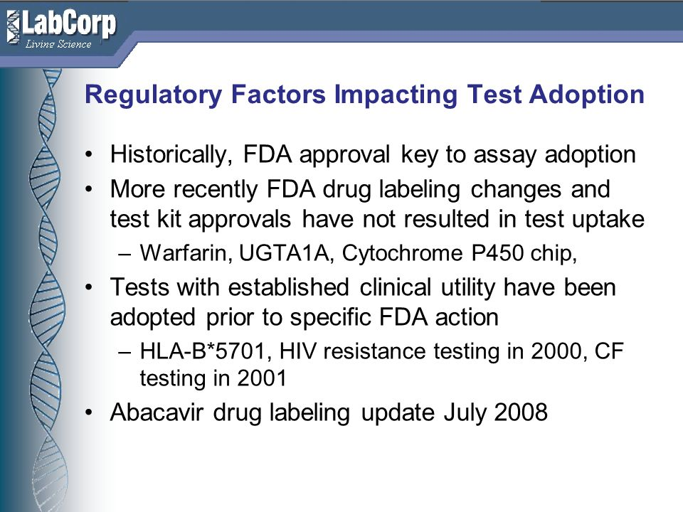 Regulatory Factors Impacting Test Adoption