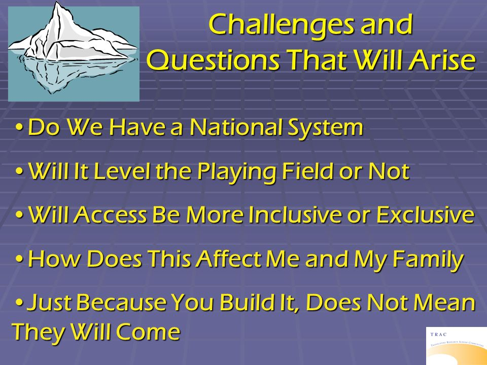 Challenges and Questions That Will Arise