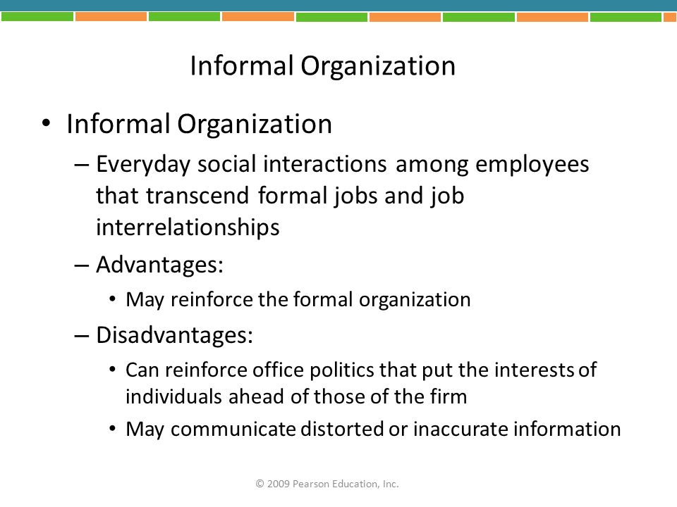 advantages and disadvantages of formal and informal organization