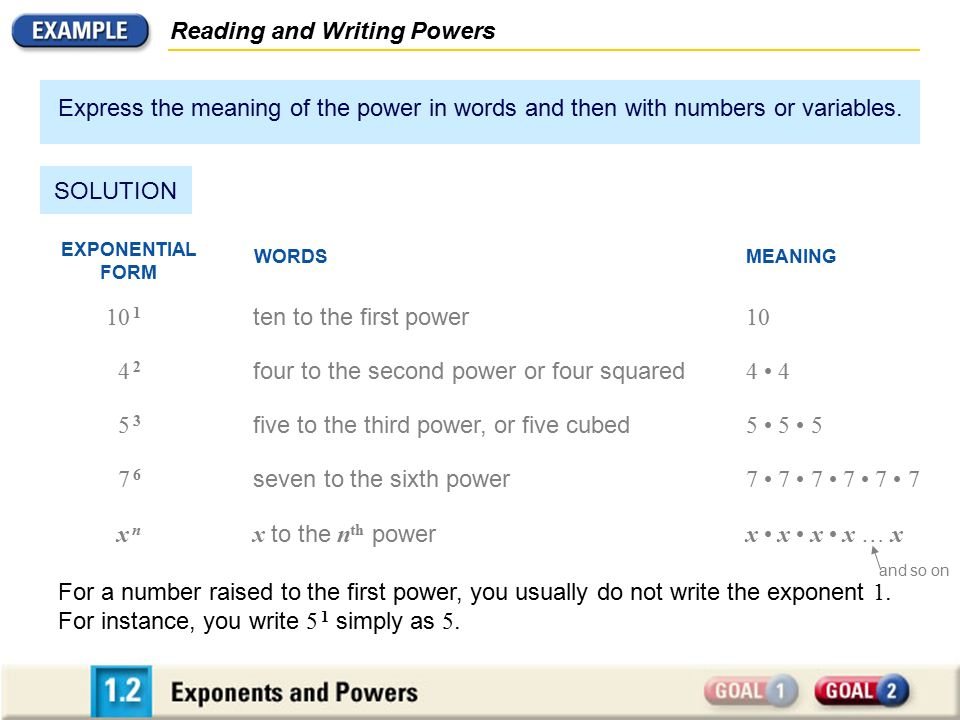 Reading and Writing Powers