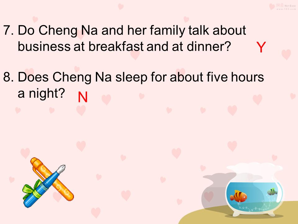 Y N 7. Do Cheng Na and her family talk about