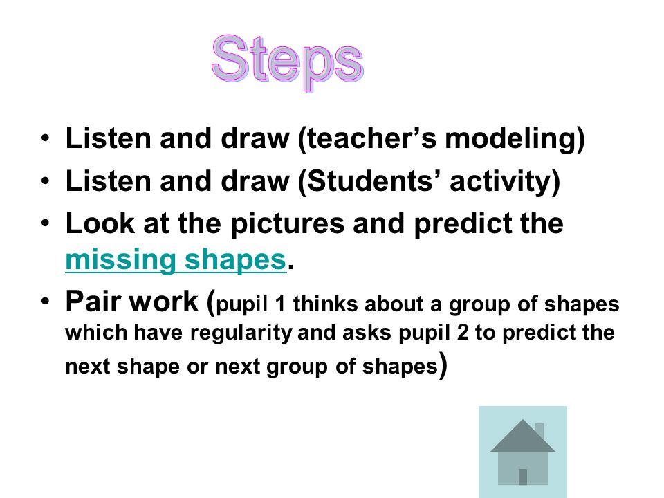 Steps Listen and draw (teacher's modeling)