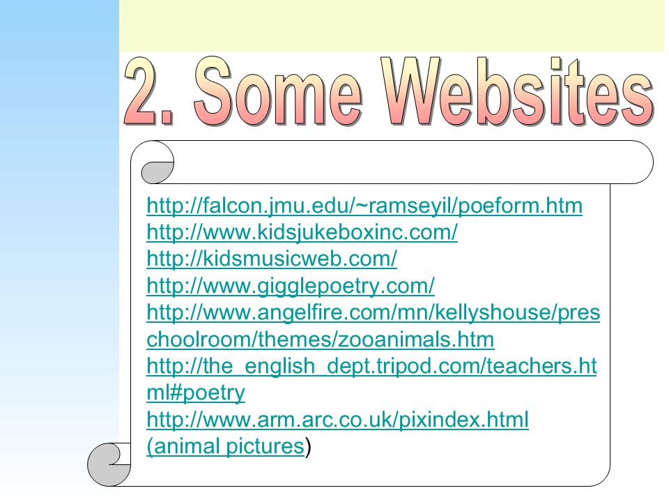 2. Some Websites http://falcon.jmu.edu/~ramseyil/poeform.htm
