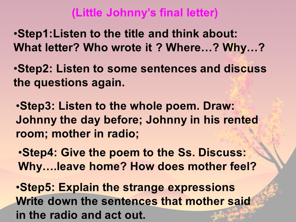 (Little Johnny's final letter)