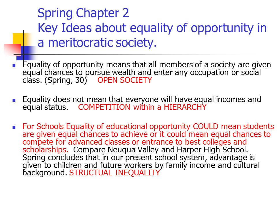 Spring Chapter 2 Key Ideas About Equality Of Opportunity In A Meritocratic Society