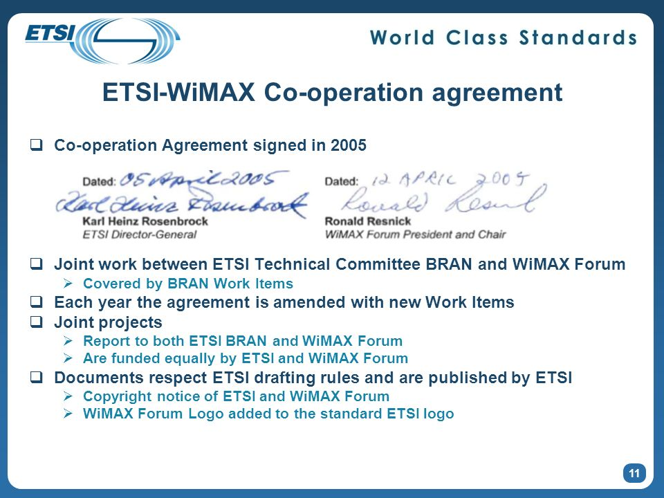 ETSI-WiMAX Co-operation agreement